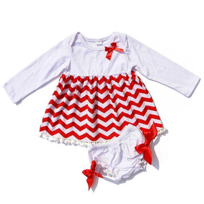 Nowe Boże Narodzenie Baby Girls Sukienki z bielizną Moda Dzieci Biała i Czerwona Wave Sukienka Ustawia Ubrania Dzieci