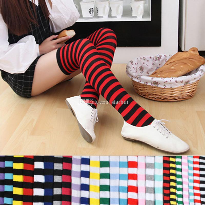 여자 긴 튜브 양말 여성 섹시한면 줄무늬 무릎 높은 양말 축제 파티 크리스마스 양말 WX9-846 공급