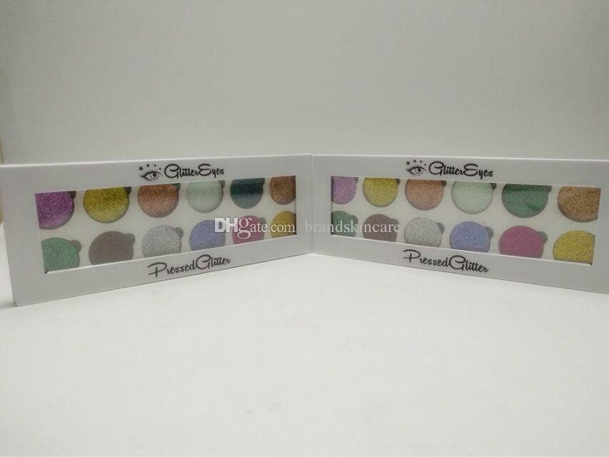 Yeni varış kaliteli 12 Renk Preslenmiş Glitter göz farı Paleti Göz Farı Kozmetik Göz farı ücretsiz kargo