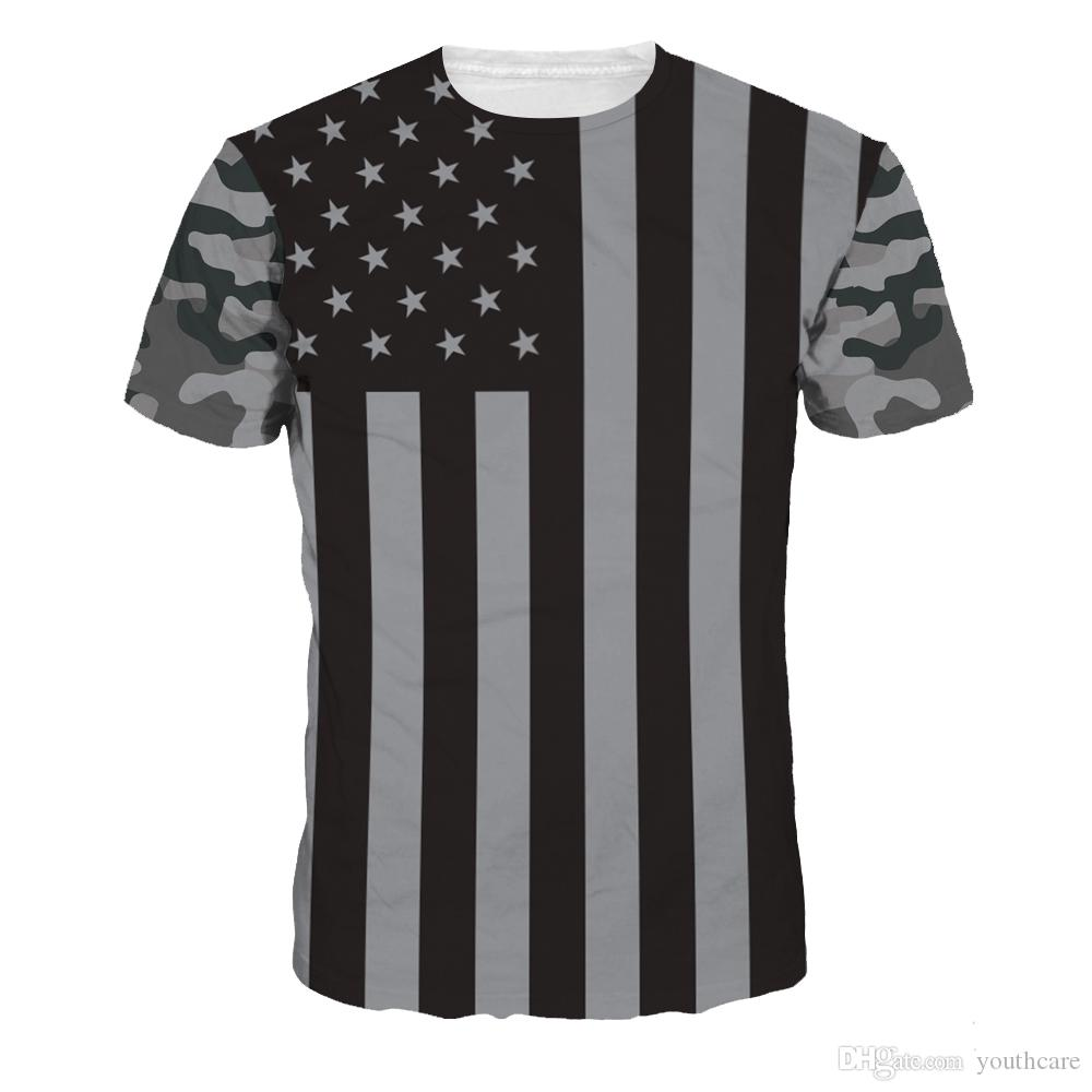 Youthcare 3D Printed T-Shirt For Men and Women Poplular Mens American Flag Print Designer T Shirts Women Clothes Tops