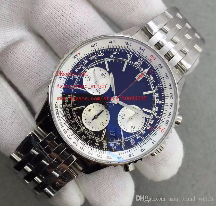 Fabrik Lieferant Classic Top qualität Luxus Armbanduhren 47mm Quarz Chronograph Blaues Zifferblatt Edelstahl Herrenuhr Uhren