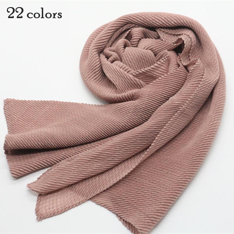 Heißer verkauf schals beliebte türkei plissiert uni schal falten muslimischen hijab Schal solide echarpe Mode falten schalldämpfer 22 farbe D18102406