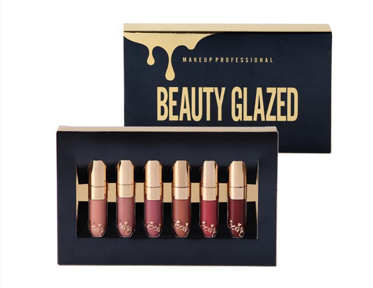 6Pcs/set Liquid Matte Lipstick Easy To Wear Long-lasting Lip Gloss Waterproof Nude Lip Lipsticks Make up