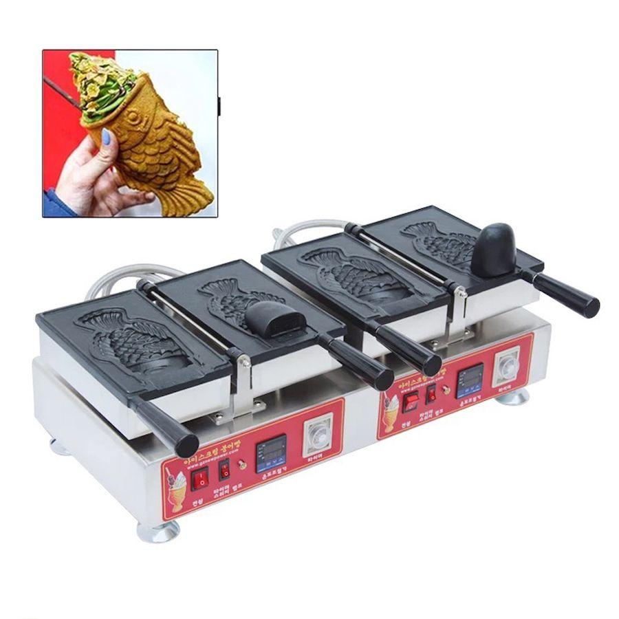 Kore Dijital Dondurma Taiyaki Makinesi Büyük Açık Ağız Taiyaki Makinesi Balık Waffle Makinesi Ticari Snack Ekipmanları