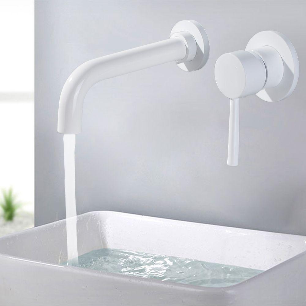 Rubinetto lavabo da parete in ottone Rubinetto lavello da bagno Rubinetto girevole Rubinetto da bagno Leva singola Lavabo bianco Miscelatore lavello Gru