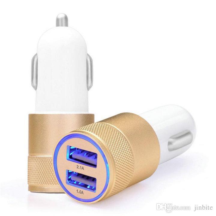 Marca NOKOKO Adaptador de Viagem De Metal Carregador de Carro 2 Portas Colorido Micro USB Car Plug Adaptador USB Para Samsung Nota 8 S10 S9 S8 S7 S7 pacote