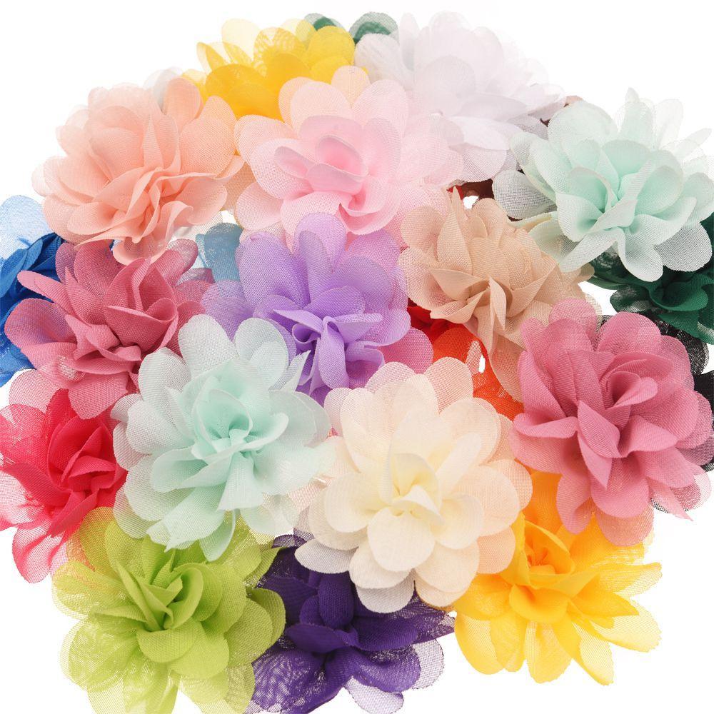 헤드 밴드를위한 20PCS 쉬폰 꽃 부티크 헤어 액세서리 DIY 꽃 모자 패션 액세서리 헤어 꽃 없음 클립
