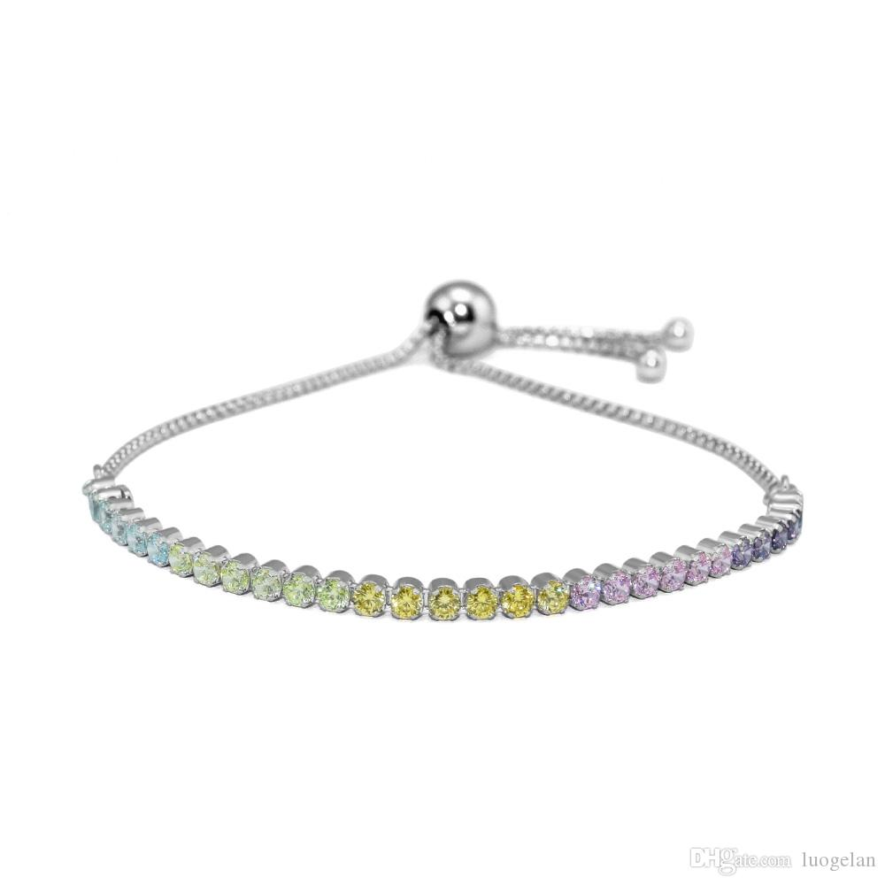 925 Sterling Silver Multi-Colored Strand Sparkling Bracelet Jewelry Original Fits For Women European Style Beads And Charms Making