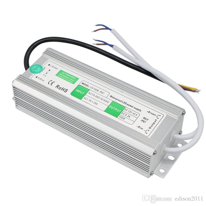 Adaptador Edison2011 LED transformador DC 12V 8.3A 100W impermeable del conductor IP67 LED de alimentación al aire libre de alta calidad