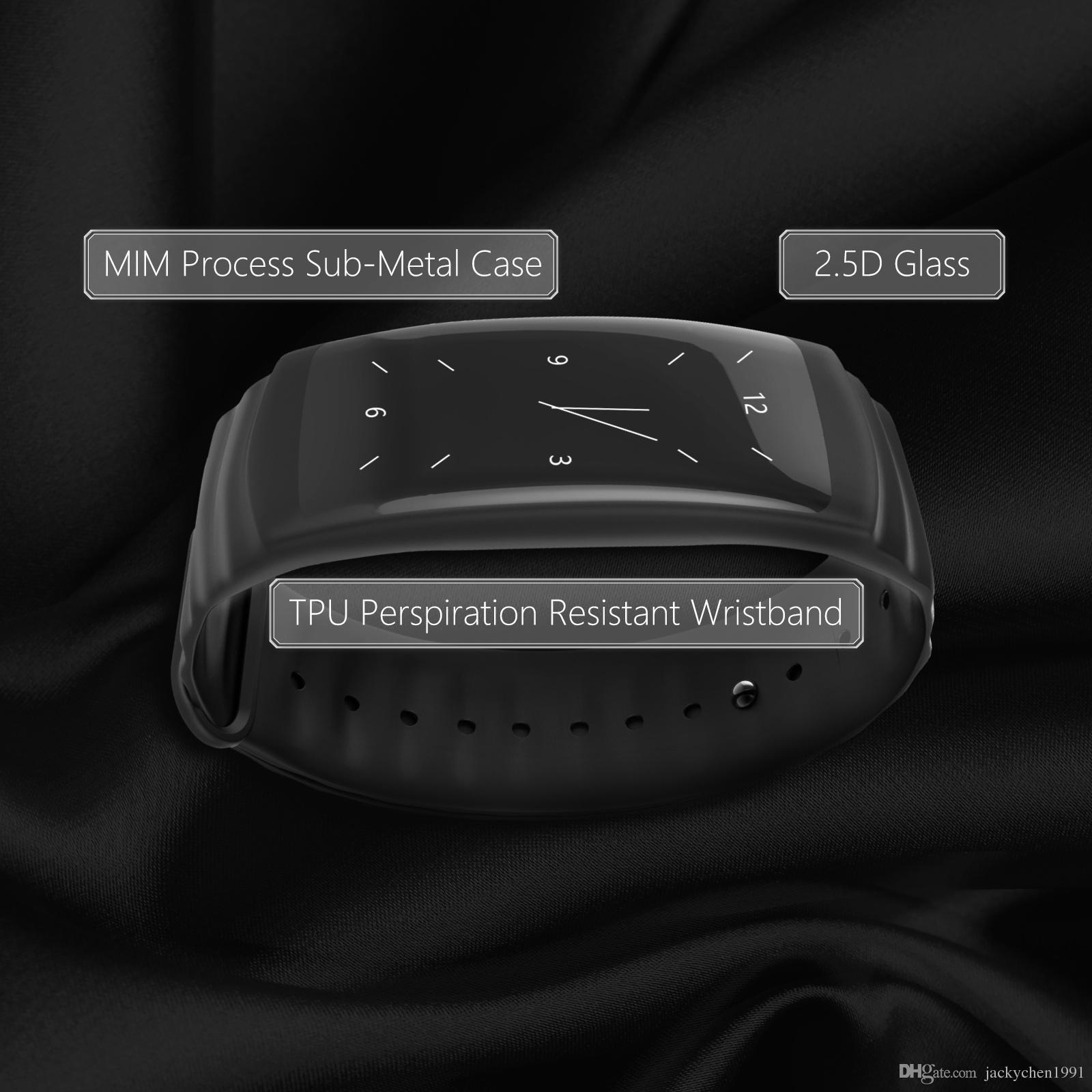 Jackom 2018 mais novo inteligente pulseira com tela de toque modelo P2 Smart Sports assistir os rastreadores para a pressão arterial