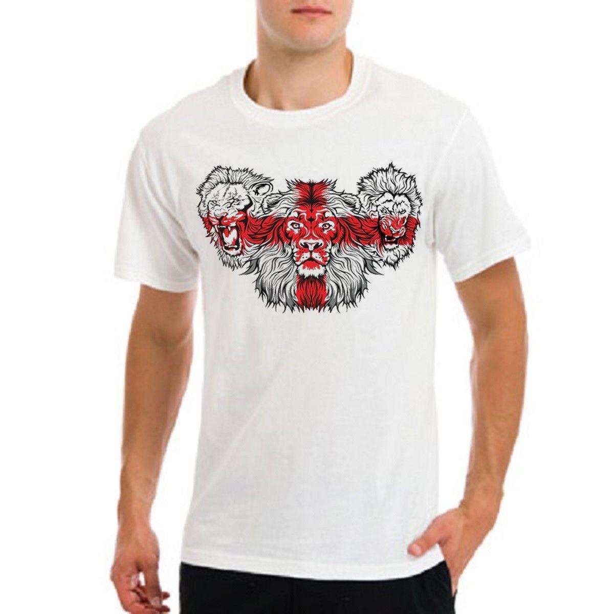 잉글랜드 월드컵 mundial 2018 russia 영국 축구 팀 3 lions T 셔츠 남성 T 셔츠 무료 배송