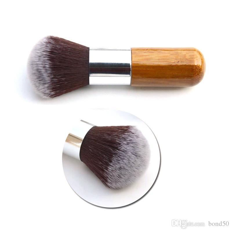 60 PZ Fashion Beauty Piatto Buffer Foundation Powder Fard Spazzola per il Viso Cosmetico Strumento di Base Manico di Bambù Strumenti di Trucco SME DHL B01004