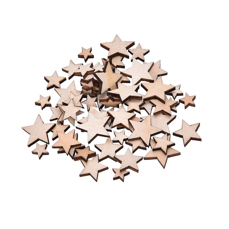 Wholesale 100Pcs Romatic Style Wood Star Chipboard Fashion Wooden Home Decorations DIY Christmas Party Scrapbooking High Quality