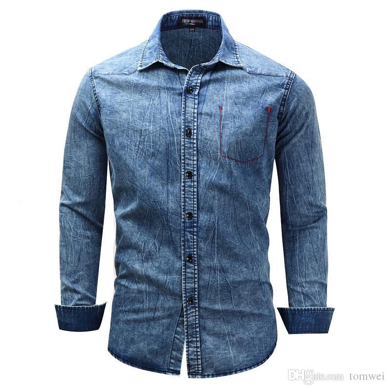 Большой размер с длинным рукавом рубашки Мужские джинсовые рубашки отворот повседневные топы пиджаки сплошной цвет черный синий высокое качество ЕС размер США