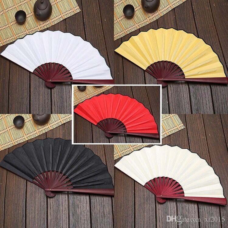 Grand 33cm Ventilateur En Tissu Blanc Bambou Ventilateurs À La Main DIY Artisanat Art Peinture Fan Cadeaux wen6896