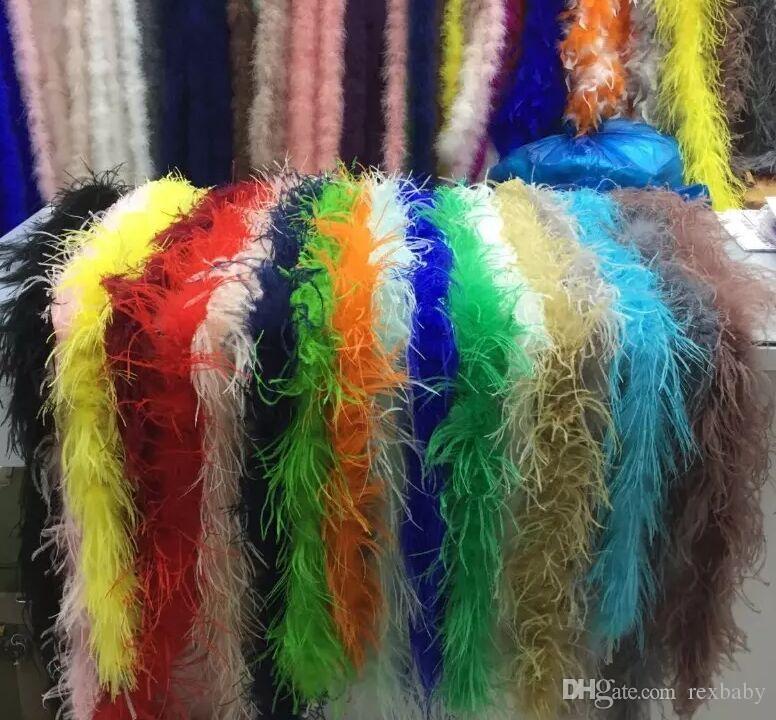 Дешевые перо Боа 2 м Марабу перо Боа газа для свадьбы Марабу перо Боа шарф много цветов Быстрая доставка