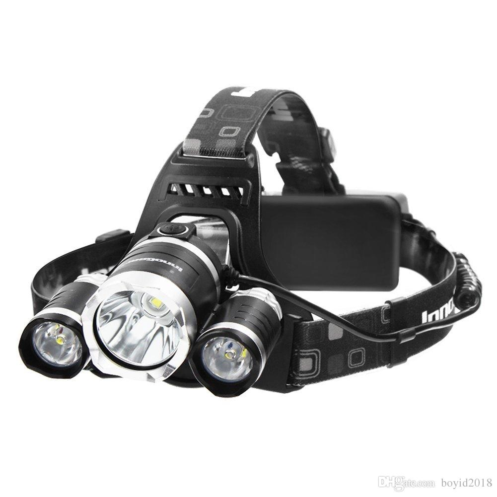 Headlamp 5000 Lumens LED Flashlight Bright Headlight Torch with Rechargeable Batteries and Wall Charger for Hiking Camping Riding Fishing Hu
