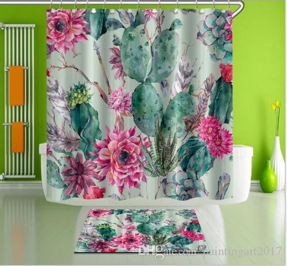 Multifunctional Flower Green Plant Shower Curtain Waterproof Mildewproof Bathroom Curtain Polyester Thickened Bathroom Products With Hook