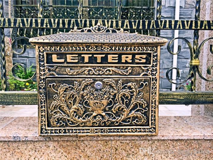 Cast Aluminum Mailbox Postbox Mail Box Garden Decorations Flower Wall Mounted Metal Antique Craft Vintage Bronze Look