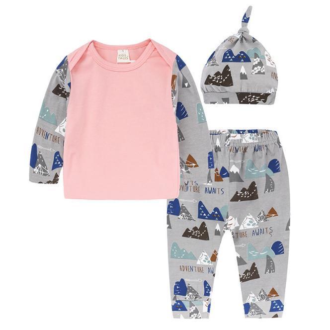 3 unids / set Ropa de Niños Conjuntos Ropa de Otoño de Niñas Ropa de Bebé T-shirt + Pantalones Leggings sombrero Conjuntos de niños Conjunto