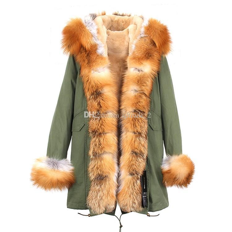 Luksusowy Jazzevar Brown Raccoon Fur Trim Kobiety Futro Jacket Brown White Fox and Rabbit Fur Lining Army Green Long Parkas