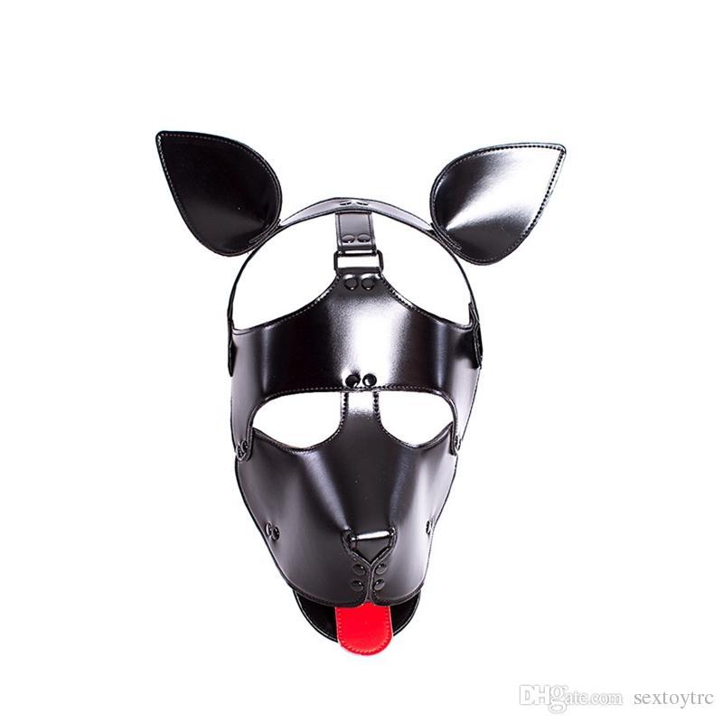 Мужской женская собака новая морда щенок маска капюшон головка дизайн бондаж для раба с фетиш бдсм игра маска костюм чувственный Zentai Gipp форма TPKXK