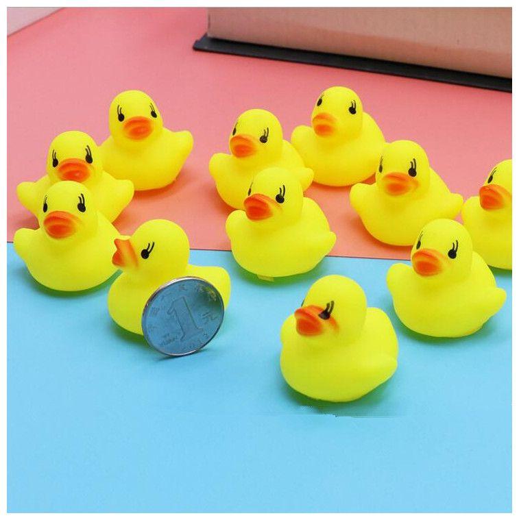 Mini amarelo patos de borracha para o bebê crianças banho brinquedo da água pato não tóxico adorável bebê nadando patos brinquedos populares