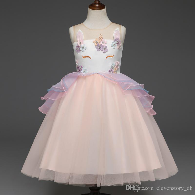 2 à 6 ans de robe de licorne été filles, vêtements de fleurs / perles, célébration de fête, vêtements de tulle enfants adolescent boutique, 2AQ510DS-40
