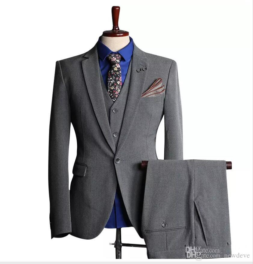 Customized New Hot Men's Suits Fashion Men's Business Formal Suit Three-piece Suit (coat + pants + vest) Wedding Groom Groomsmen Dress