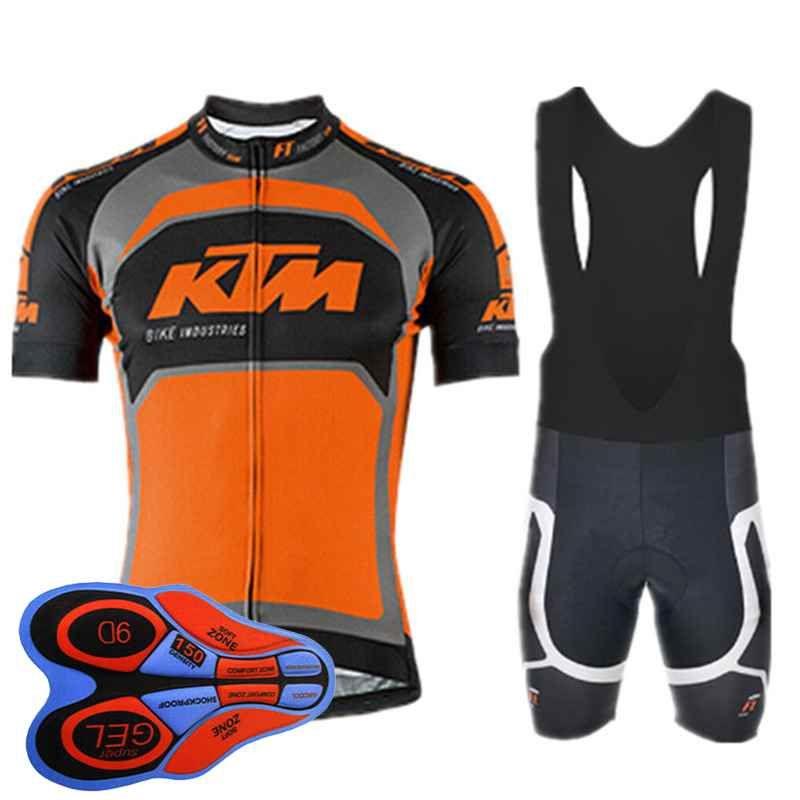 KTM team Cycling Short Sleeves jersey (bib) shorts sets Quick-Dry Bike thin Strap summer bike clothes 9D gel pad Sportwear new 91918F
