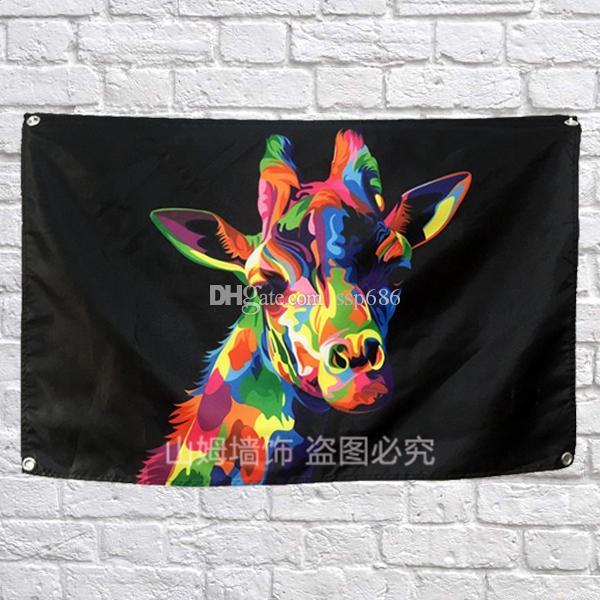 Hayvan zürafa Bayrağı Banner Pop Art Resim Ev Dekorasyon Asılı bayrak 4 Gromments Corners 3 * 5FT 144 cm * 96 cm