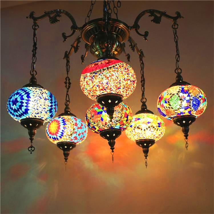hot sale online f480a dee5c Bohemia Turkish Moroccan Pendant Light Handmade Mosaic Stained Glass  Corridor Stairwell Cafe Restaurant Hanging Light Lamp Contemporary Pendant  Lights ...