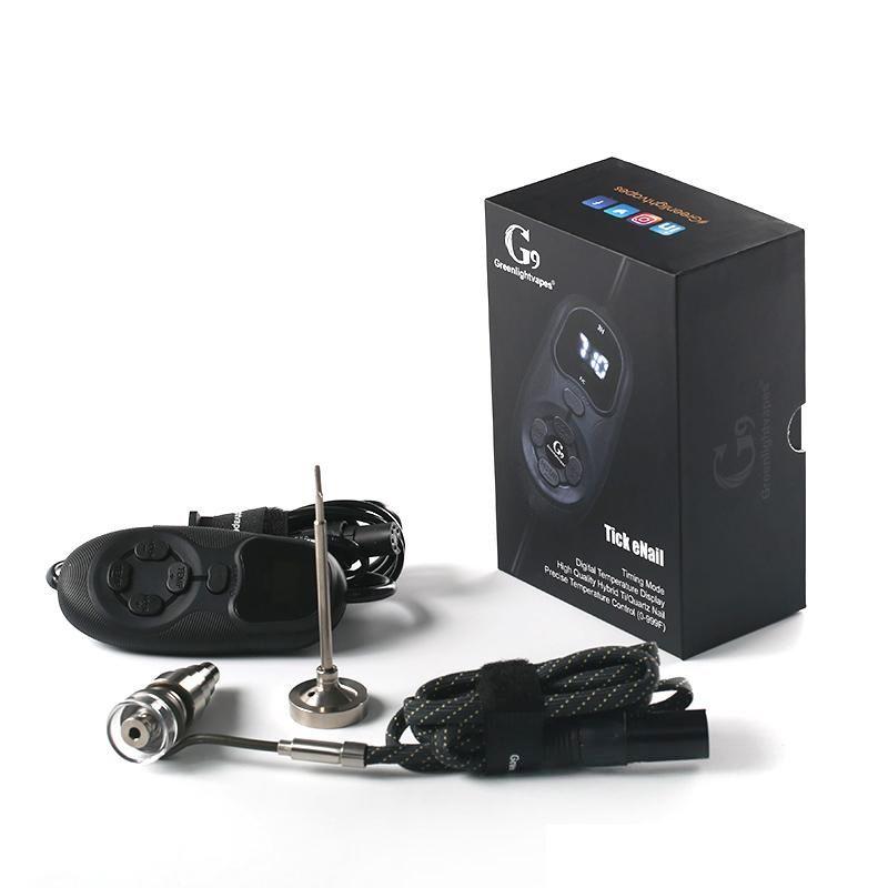 Hot Smartest G9 portátil Tick Enail Kit Eléctrico Dab prego Pen Rig Cera Box Com 16MM Titanium Domeless bobina aquecedor ENail