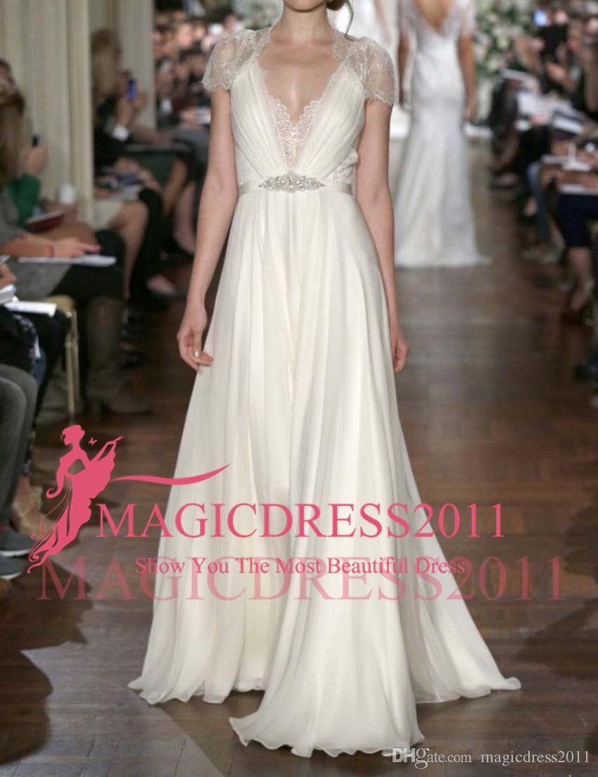 2019 Elegantes vestidos de novia para la playa Casquillo con cuello en V Con cuentas Cinturón Encaje Gasa Longitud del piso Columna Vestidos de novia Por encargo