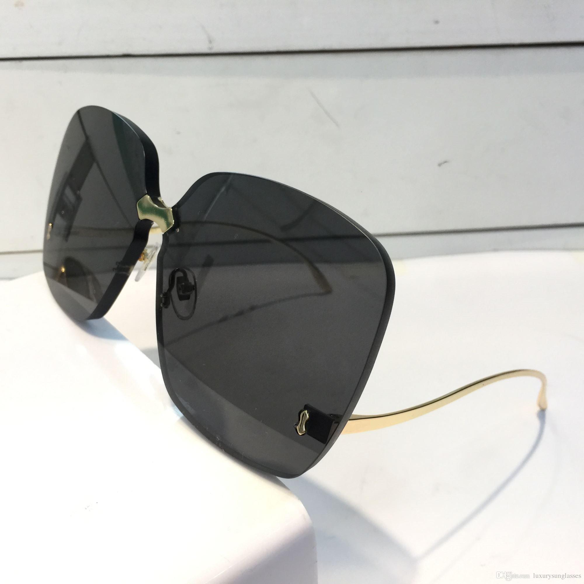 0352 الساقين مصمم النظارات الشمسية لأزياء النساء التفاف مكبرة بدون إطار طلاء مرآة عدسة ألياف الكربون الصيف نمط أعلى جودة 0352S