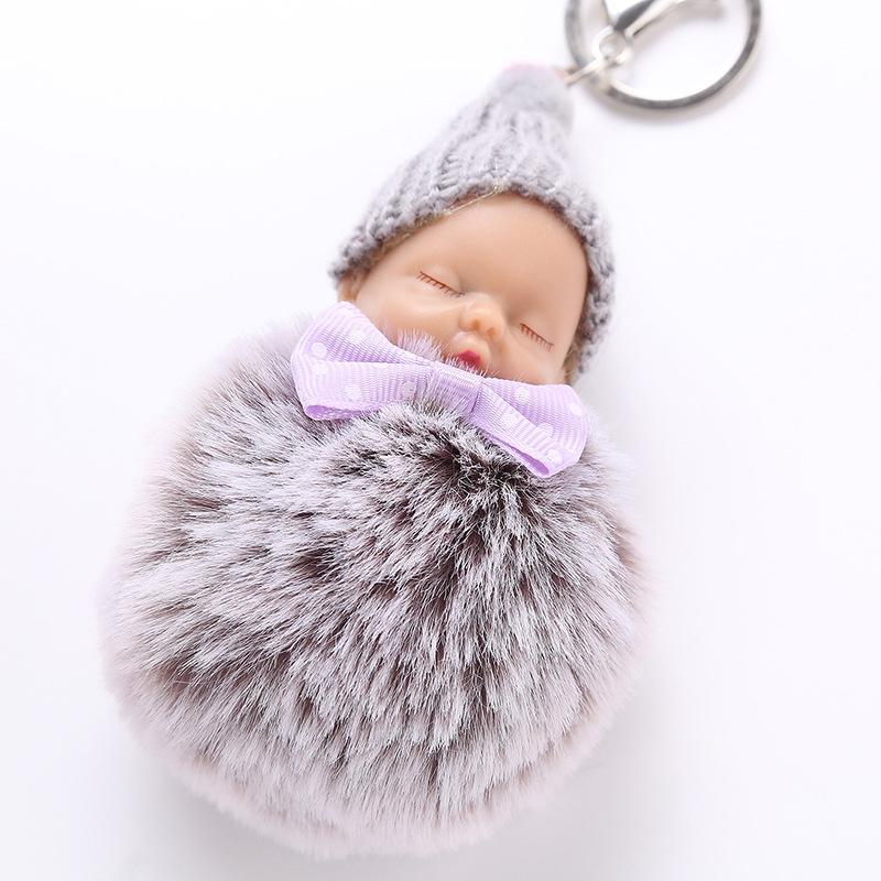 Fluffy Sleeping Baby Keychain Plush Doll Toy Knitted Hat Faux Rabbit Fur Women Bags Key Buckle Bag Car Pendant Jewelry