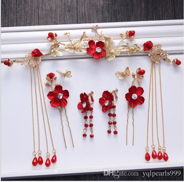 Gelin headdress, altın kırmızı çiçek, saçaklı saç tokası, saç tokası, küpe, gelinlik, gelinlik aksesuarları.