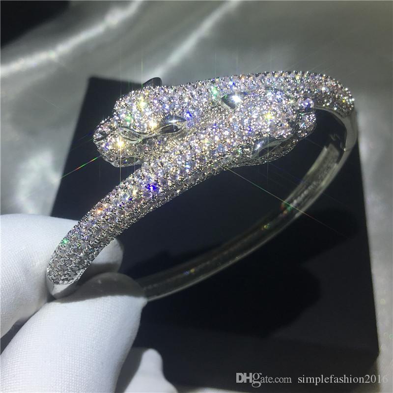 ليوبارد اليدوية شكل الإسورة تمهيد إعداد 380pcs الماس سوار فضية اللون أساور للنساء الزفاف المساعدون