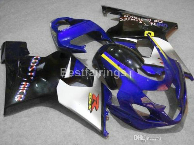 Горячая продажа обтекатель комплект для SUZUKI GSXR600 GSXR750 2004 2005 wihte синий черный GSXR 600 750 K4 K5 обтекатели RR56