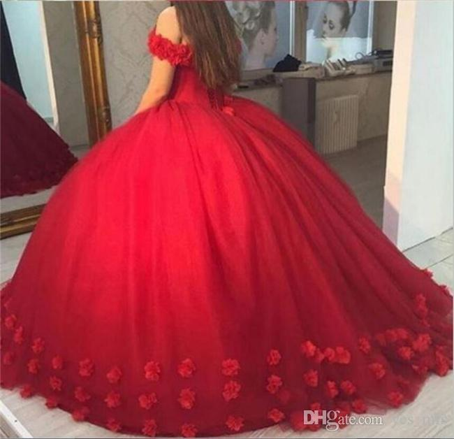 2020 Red 3D-Floral Appliques Puffy Ball Gown Quinceanera Dresses Sweet 16 Off Shoulder Tulle Lace Up Back Corset Evening Party Pageant Dress