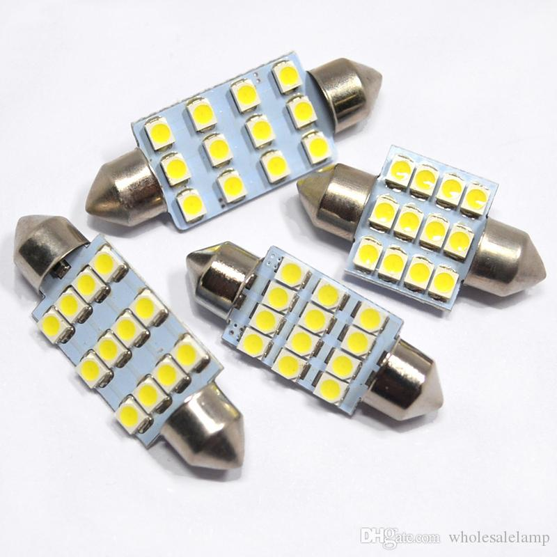 31MM-41MM Festoon C5W LED Bulbs 12SMD 3528 Car Interior LED Dome Light Bulbs Auto Map Reading Lamp White 12V