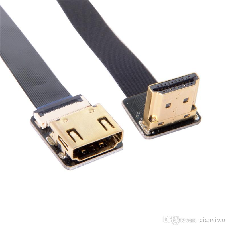 FPV 90 Degree Up Angled HDMI Male to Female FPC Flat extensjion Cable for camera HDTV Multicopter Aerial Photography