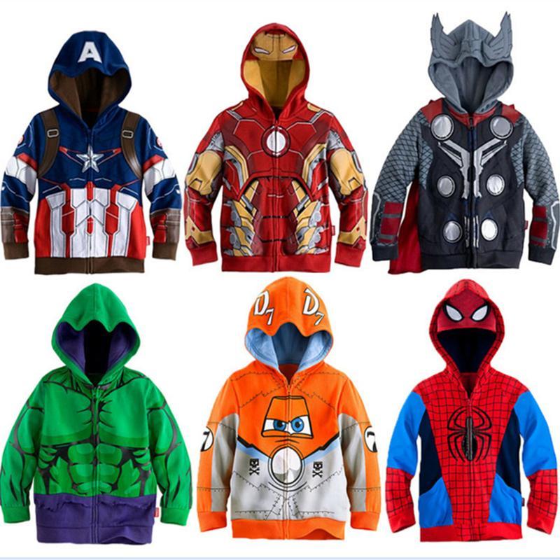 Meninos Hoodies Vingadores Marvel Homem De Ferro Super-heróis Thor Hulk Capitão América Spiderman Moletom para Meninos Dos Miúdos Dos Desenhos Animados Jaqueta 3-8 T Y18102507