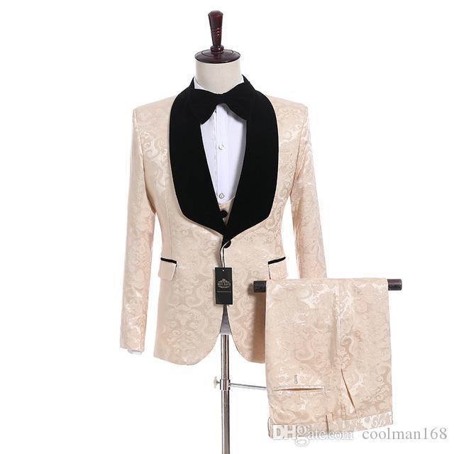 Шампанское жаккард мужской свадебный смокинг черный бархат с отворотом боковой вентиляционный костюм смокинги мужской ужин / дартс костюм 3 шт (куртка + брюки + галстук + жилет) 50