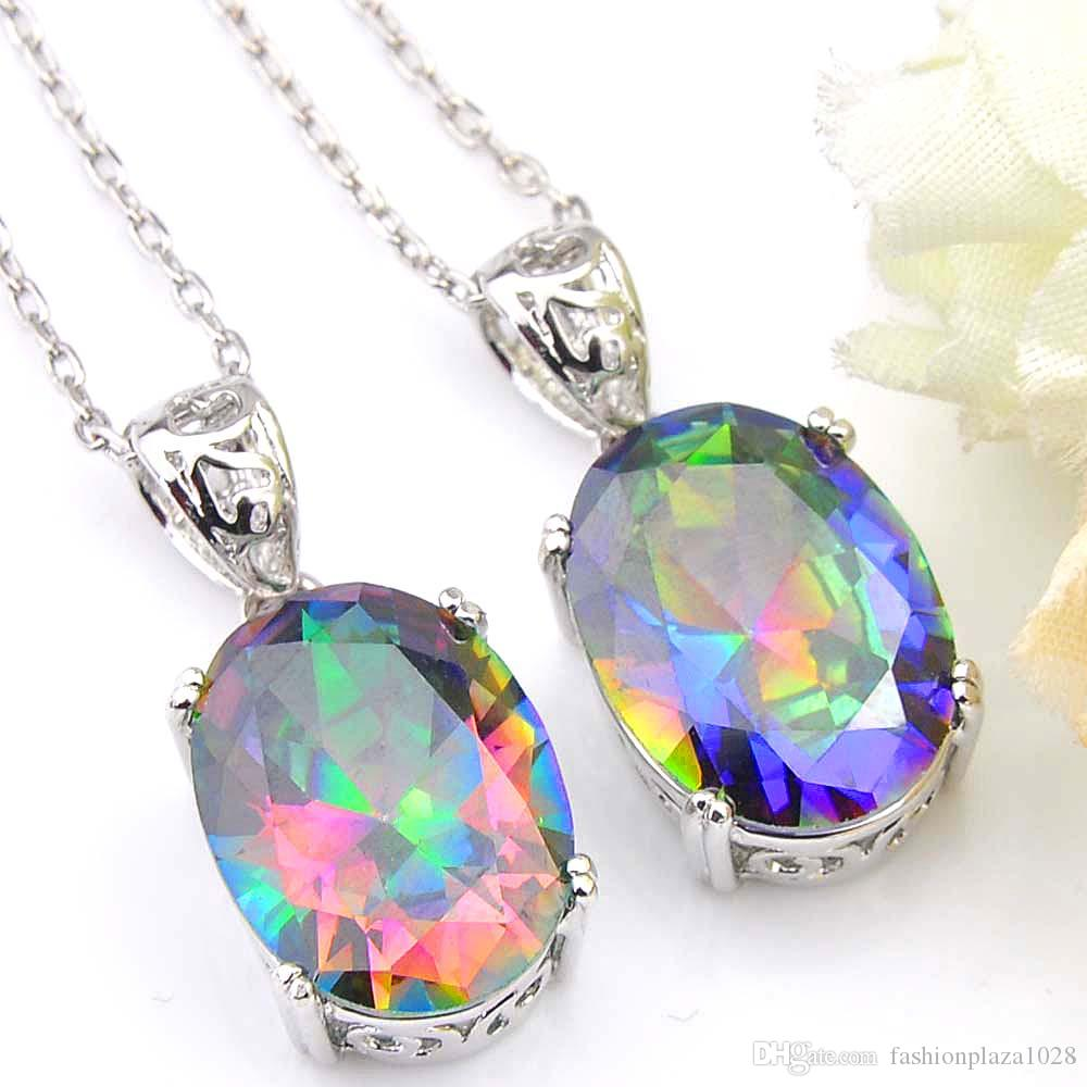 Luckyshine 5 pcs/Lot Classic Oval Fire Mystic Topaz For Women Rainbow Zircon 925 Silver Pendant Party Holiday Canada Mexico Jewelry Gift 1