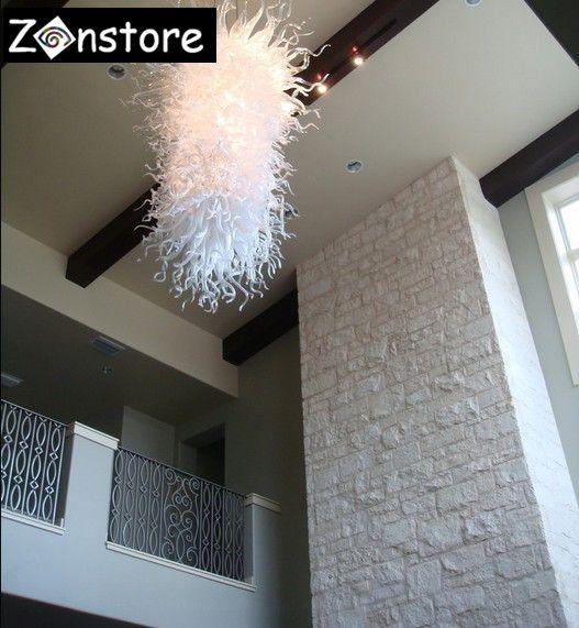 Hochzeitsdekor Weiße Farbe Mundgeblasenem Glas Kronleuchter Heißer Verkauf Hängen Led Kronleuchter Tiffany Modernes Design Murano Glas Lampe