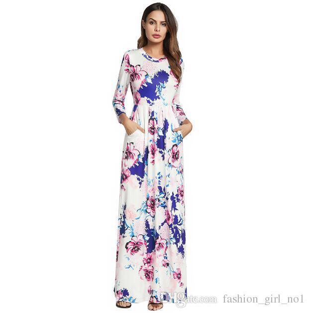 Bohemian Print Dress - Nouvelle robe à manches longues à huit pointes pour grandes explosions européennes et américaines