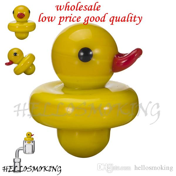 Wholesale Glass Carb Cap Yellow Duck Style Dome For Thermal Quartz Banger Nails Glass Water Pipe Dab Oil Rigs hellosmoking 598