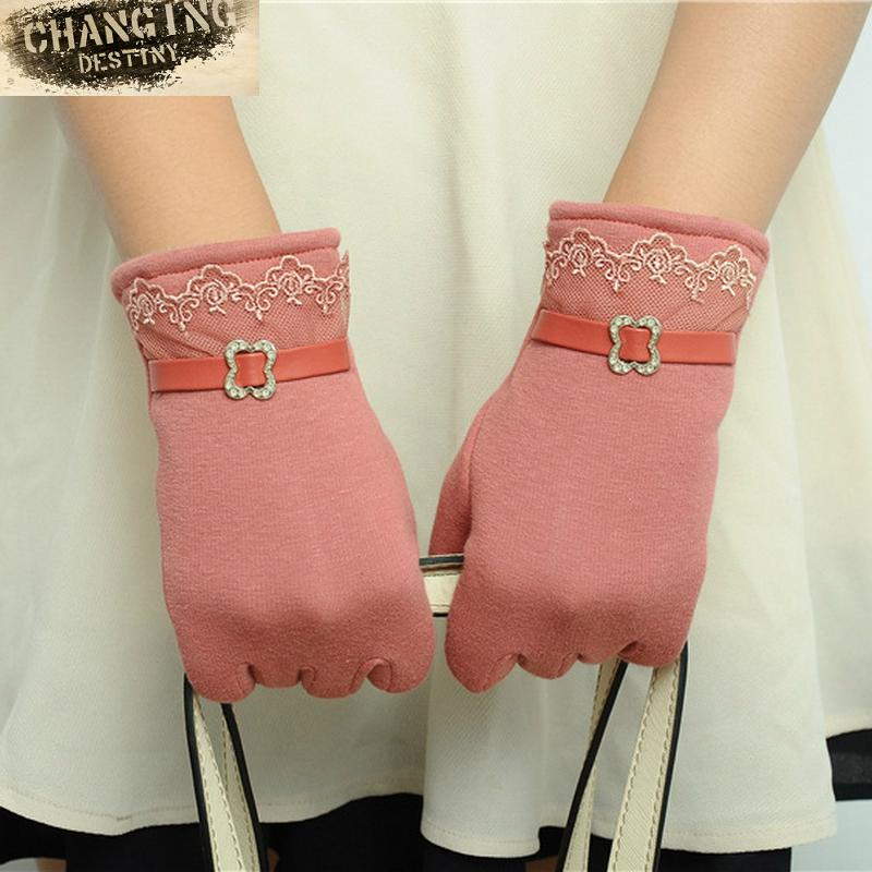 High Quality Winter Fashion Women's Touch Screen Glove Ladies Lovely Cotton Keep Warm Mittens Multi-color Gloves for Females