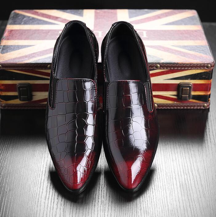 Новые Мужские Формальные Ботинки Мужские Slip-On Обувь Кожа PU Коричневый Черный Резинка Мужчины Классическая Обувь Офисная Свадебная Обувь